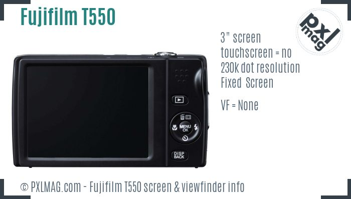 Fujifilm FinePix T550 screen and viewfinder