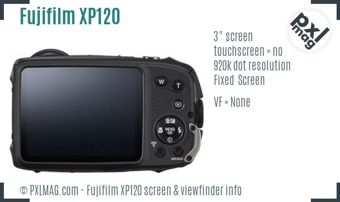 Fujifilm FinePix XP120 screen and viewfinder