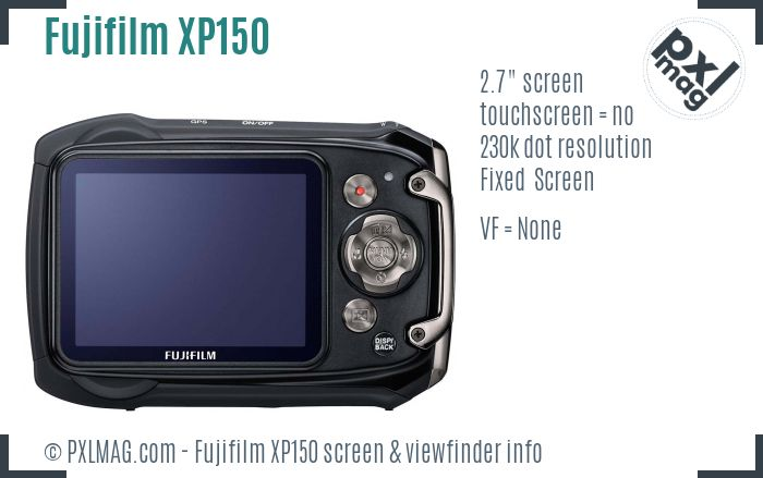 Fujifilm FinePix XP150 screen and viewfinder