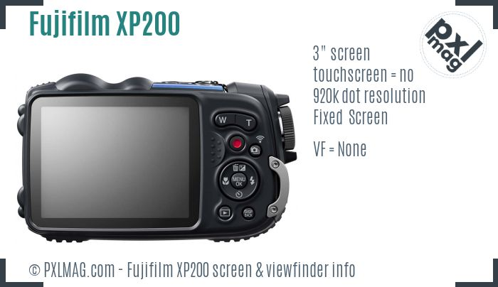Fujifilm FinePix XP200 screen and viewfinder
