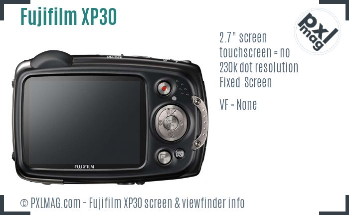 Fujifilm FinePix XP30 screen and viewfinder