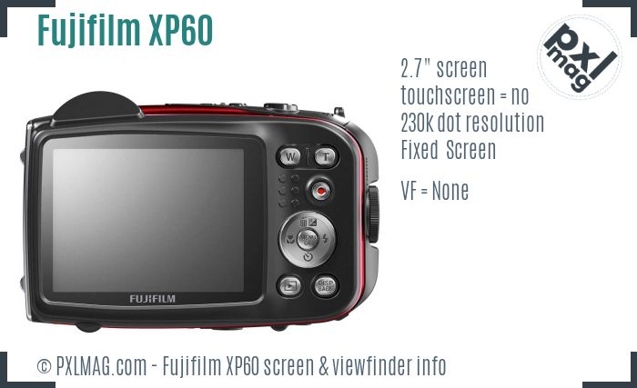 Fujifilm FinePix XP60 screen and viewfinder