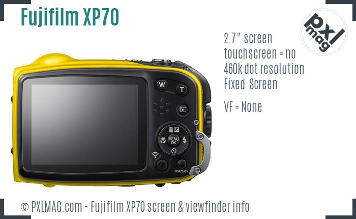 Fujifilm FinePix XP70 screen and viewfinder