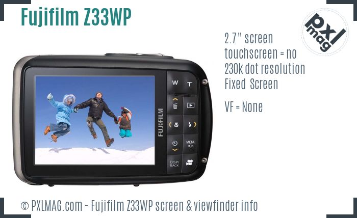 Fujifilm FinePix Z33WP screen and viewfinder