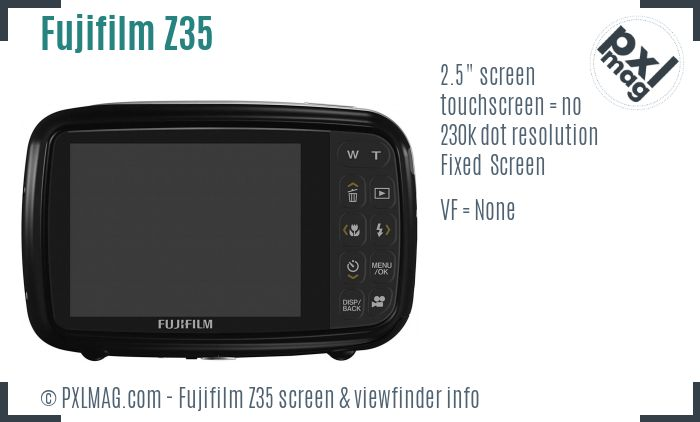 Fujifilm FinePix Z35 screen and viewfinder