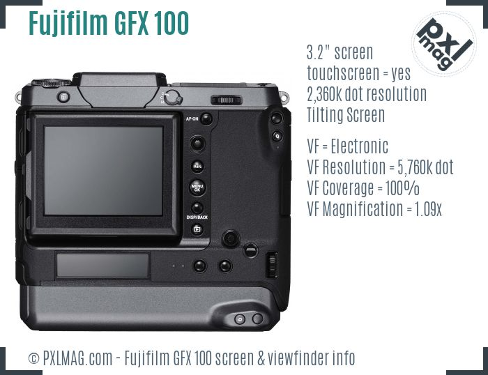 Fujifilm GFX 100 screen and viewfinder