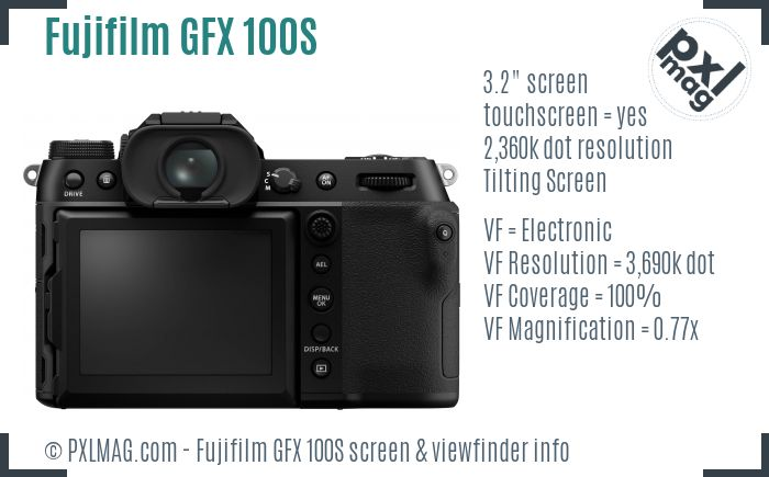 Fujifilm GFX 100S screen and viewfinder