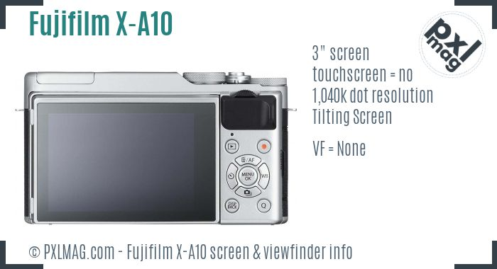 Fujifilm X-A10 screen and viewfinder