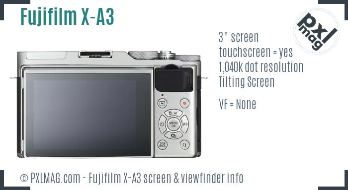 Fujifilm X-A3 screen and viewfinder