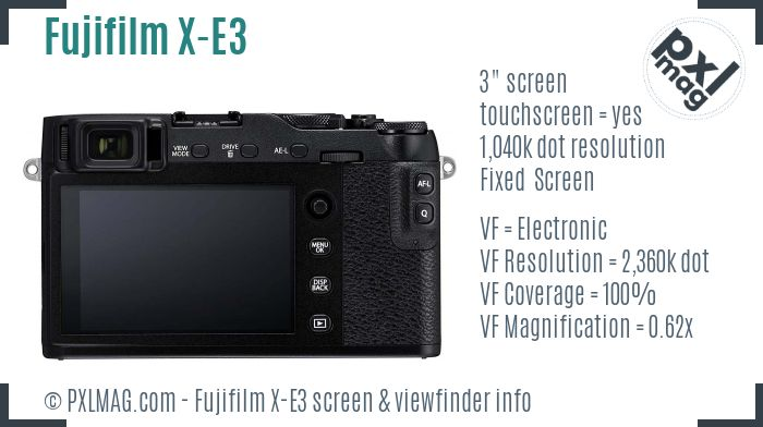 Fujifilm X-E3 screen and viewfinder