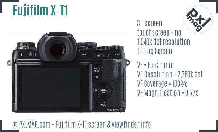 Fujifilm X-T1 screen and viewfinder