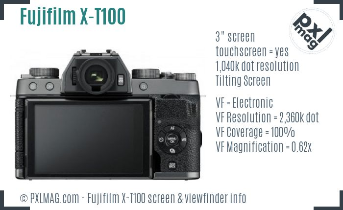 Fujifilm X-T100 screen and viewfinder