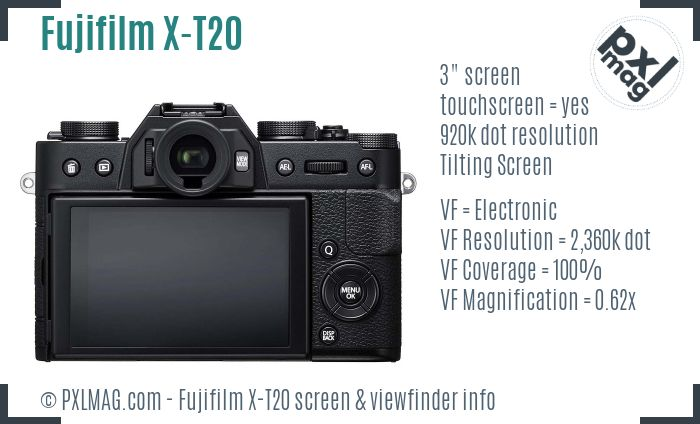 Fujifilm X-T20 screen and viewfinder