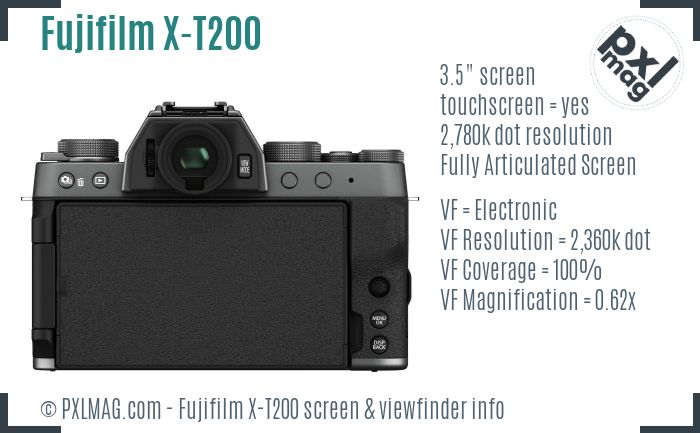 Fujifilm X-T200 screen and viewfinder