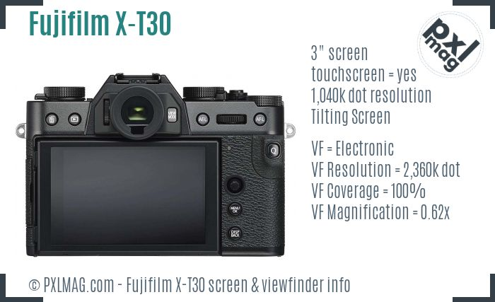 Fujifilm X-T30 screen and viewfinder