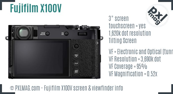 Fujifilm X100V screen and viewfinder