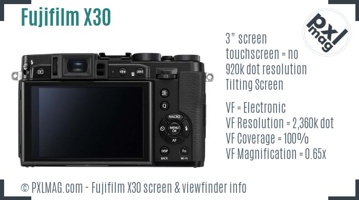 Fujifilm X30 screen and viewfinder