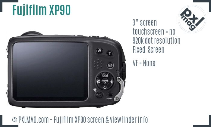 Fujifilm XP90 screen and viewfinder