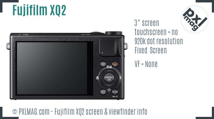 Fujifilm XQ2 screen and viewfinder