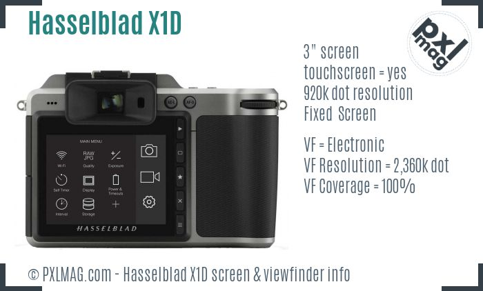 Hasselblad X1D screen and viewfinder