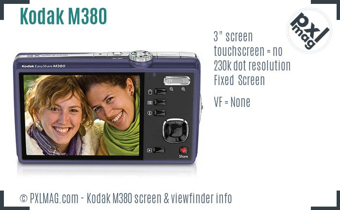 Kodak EasyShare M380 screen and viewfinder