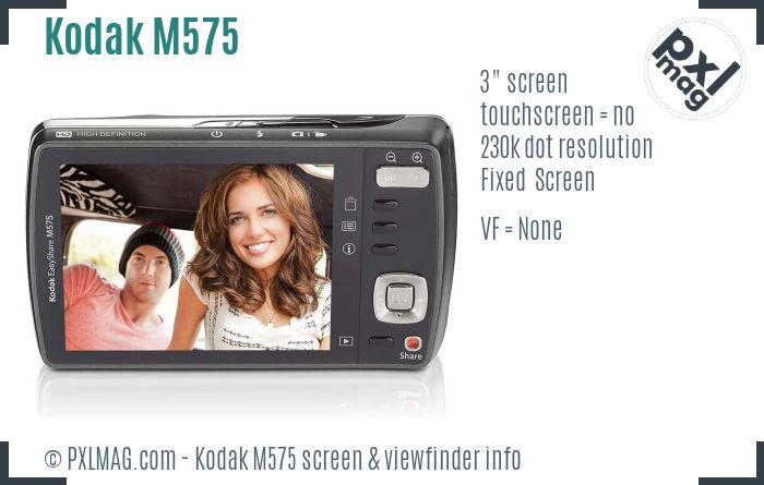 Kodak EasyShare M575 screen and viewfinder