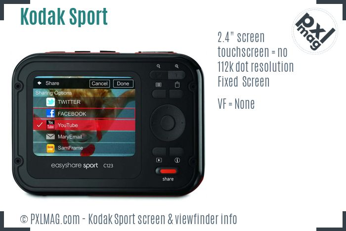 Kodak EasyShare Sport screen and viewfinder