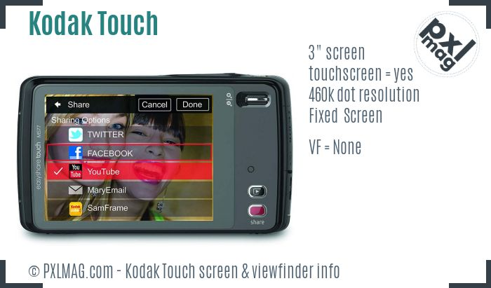Kodak EasyShare Touch screen and viewfinder