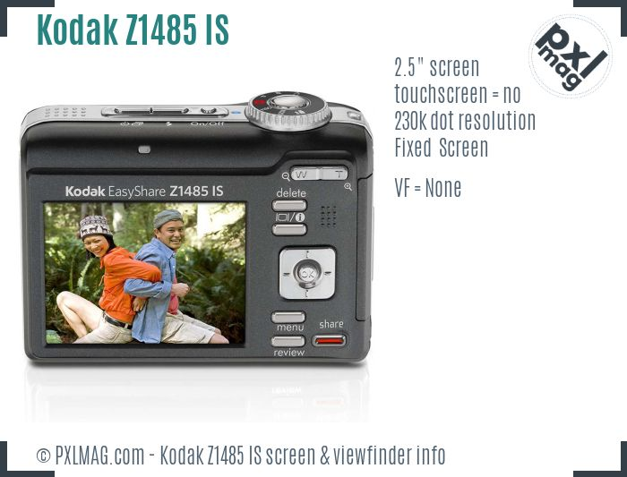 Kodak EasyShare Z1485 IS screen and viewfinder