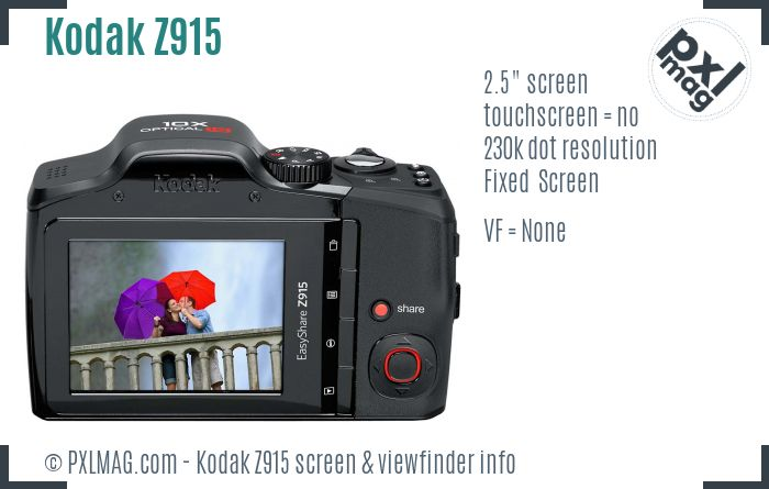 Kodak EasyShare Z915 screen and viewfinder
