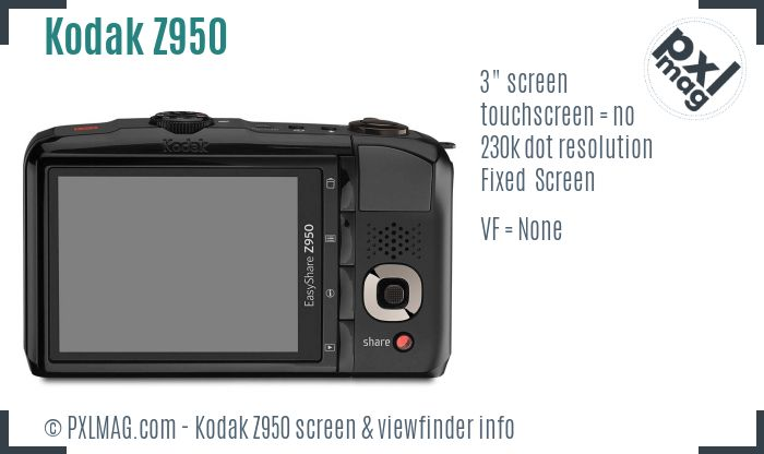 Kodak EasyShare Z950 screen and viewfinder