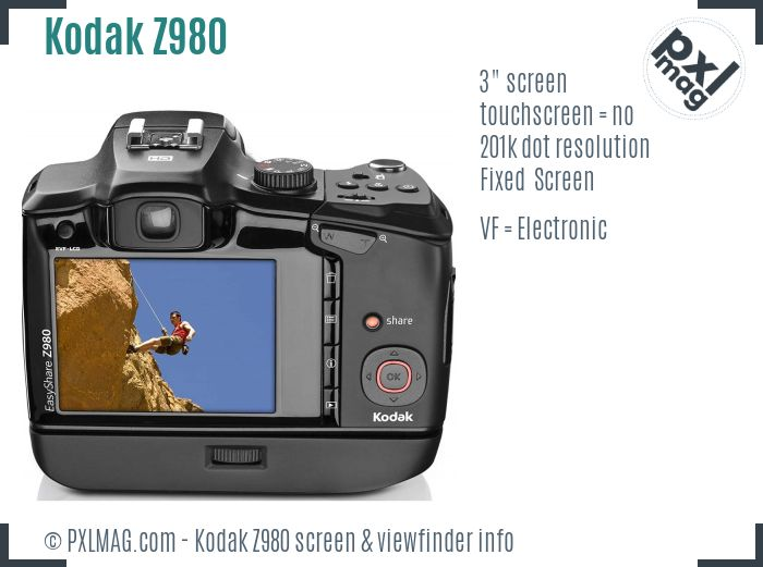 Kodak EasyShare Z980 screen and viewfinder