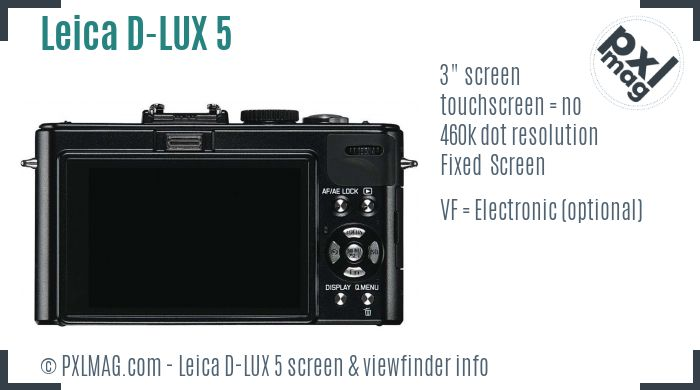 Leica D-LUX 5 screen and viewfinder