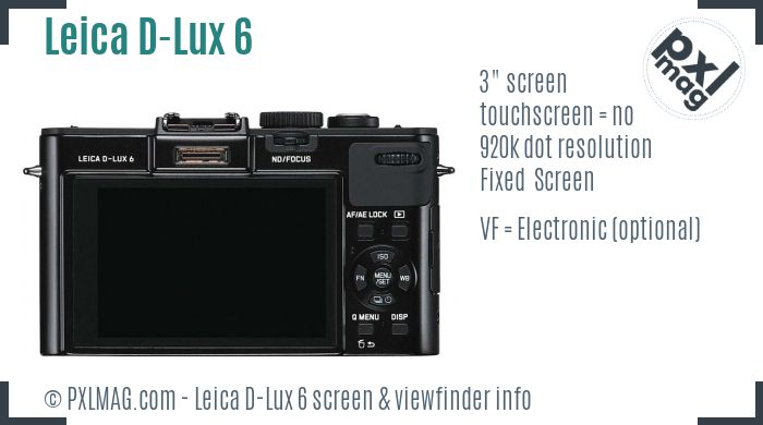 Leica D-Lux 6 screen and viewfinder