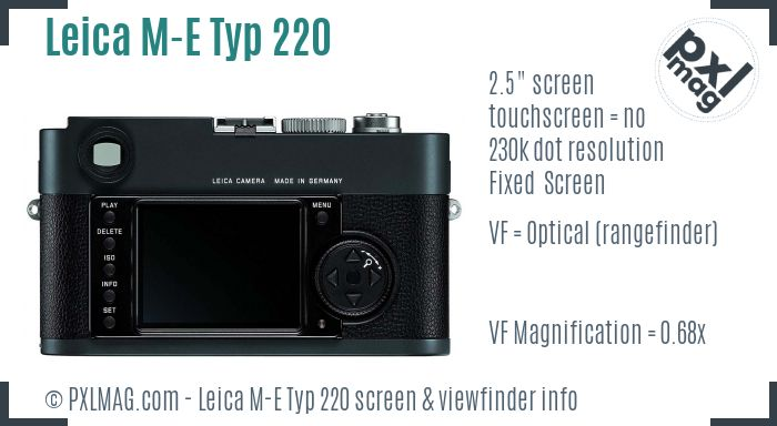 Leica M-E Typ 220 screen and viewfinder