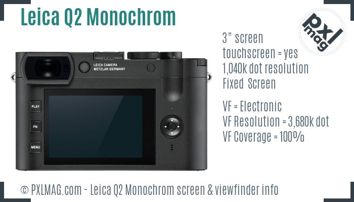Leica Q2 Monochrom screen and viewfinder