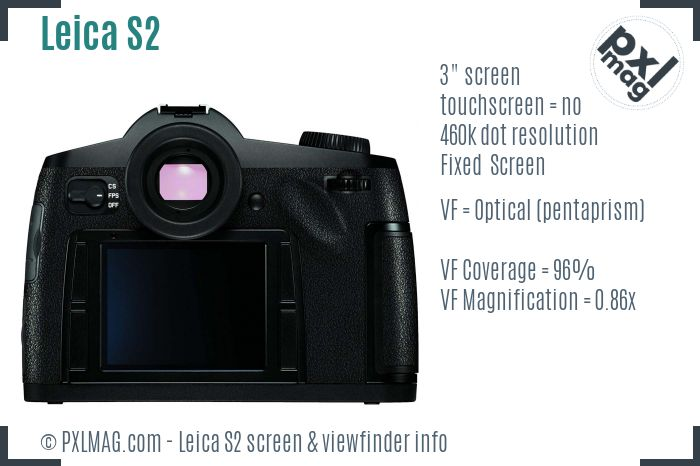 Leica S2 screen and viewfinder