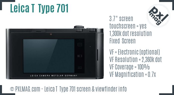 Leica T Typ 701 screen and viewfinder