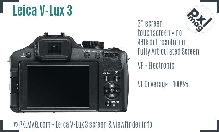 Leica V-Lux 3 screen and viewfinder