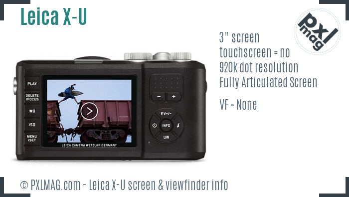 Leica X-U screen and viewfinder