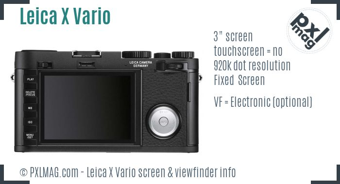 Leica X Vario screen and viewfinder