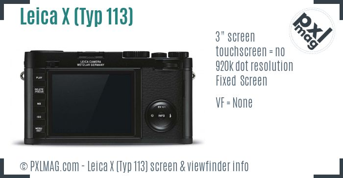 Leica X screen and viewfinder
