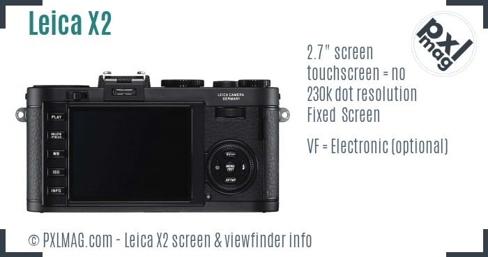 Leica X2 screen and viewfinder