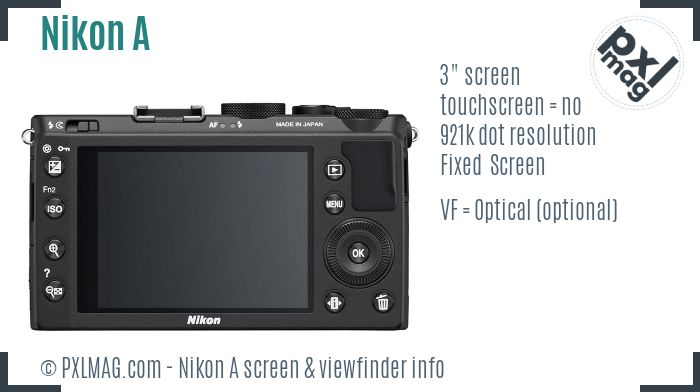 Nikon Coolpix A screen and viewfinder