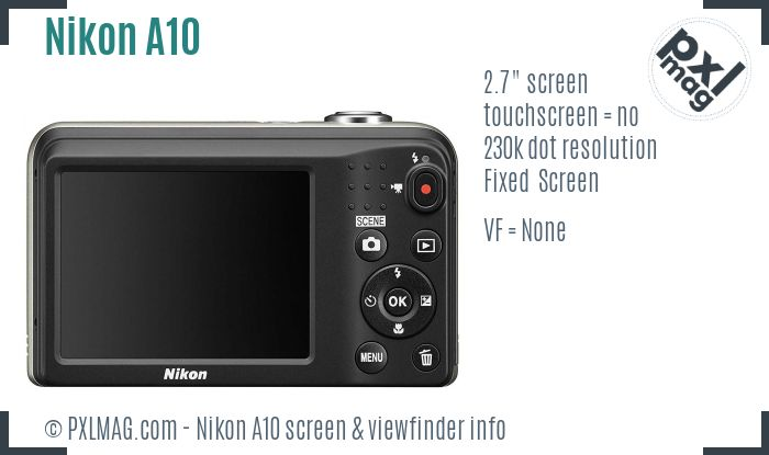 Nikon Coolpix A10 screen and viewfinder