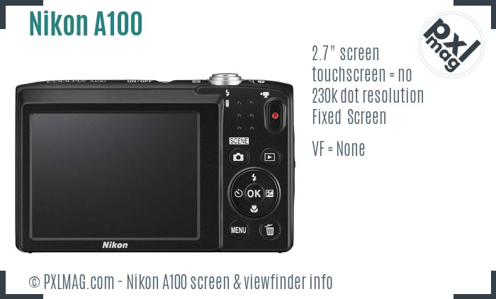 Nikon Coolpix A100 screen and viewfinder
