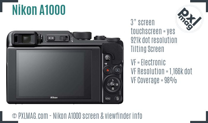 Nikon Coolpix A1000 screen and viewfinder