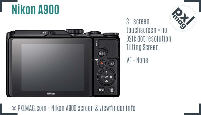Nikon Coolpix A900 screen and viewfinder