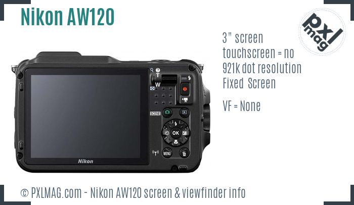 Nikon Coolpix AW120 screen and viewfinder