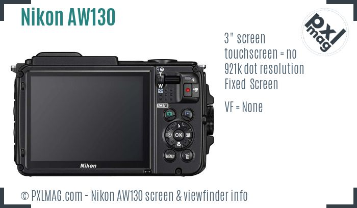 Nikon Coolpix AW130 screen and viewfinder